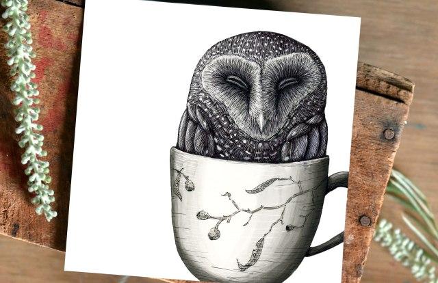 Fine art print of sooty owl in teacup